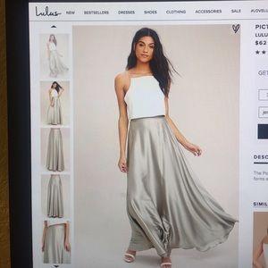 ⭐️ Lulu's Light Grey Satin Maxi Skirt ⭐️