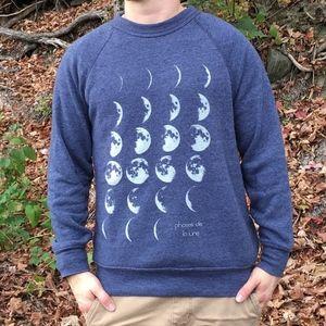 Blue Lunar Phase Moon Raglan Crew Sweatshirt S