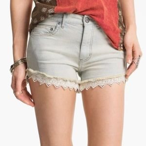 Railroad striped lace trim denim shorts