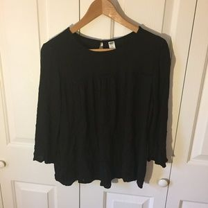 Old Navy 3/4 Bell Sleeve Black Blouse.