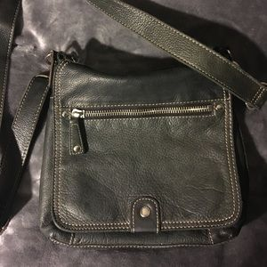 Vintage Fossil Black Leather Crossbody