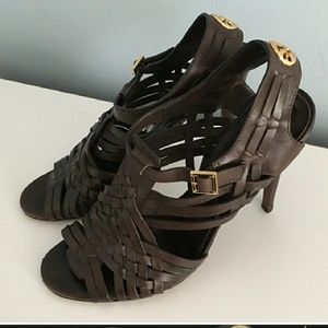 Tory Burch Brown strappy open toe heels 9.5