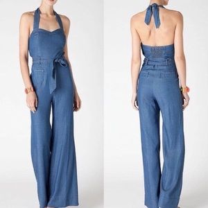 Anthropologie Elevenses chambray jumpsuit