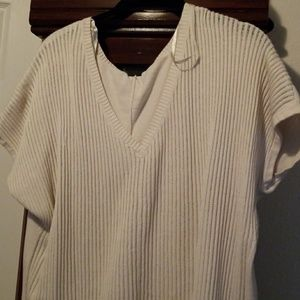 Cream ribbed sweater shirt
