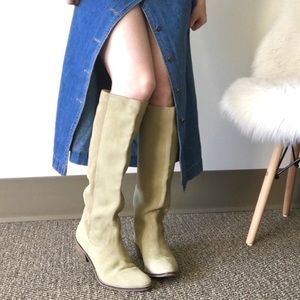 Fall Suede Leather Soft Sage Tall Boots