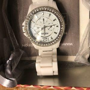 Fossil Women's ceramic white Watch