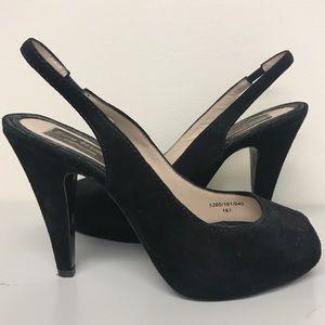 Black suede open-toe slingback pumps
