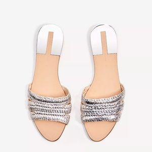 Zara Silver Tone Fabric slides