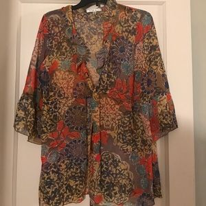 CAbi blouse with front tie-floral sheer sz. Med