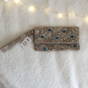 Asos Tan Foldover Embellished Jeweled Lace Clutch