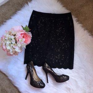 Ann Taylor Loft Black Lace Overlay Skirt