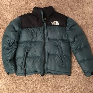 Vintage North Face Teal Puffy Down Coat - Size M