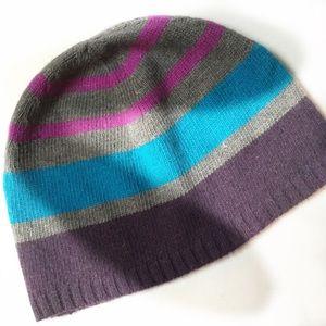 Nordstrom cashmere & wool striped beanie hat.