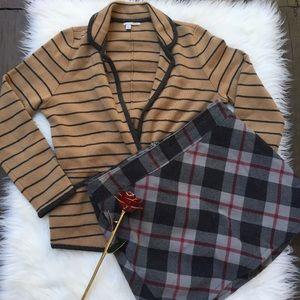Merona Plaid Gray Red Wool Skirt w/ Pockets Sz 16