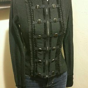 Black zip up military sweater