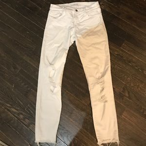 Low-rise white ripped JBrand Jeans