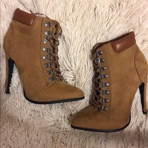 Forever 21 Fauxe Suede Lace Up Heels
