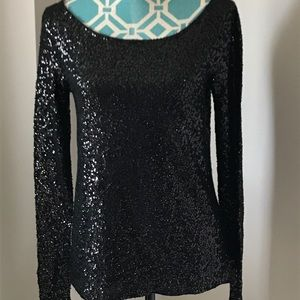 J Crew Long Sleeve Black Sequins Shirt Size XS NWT