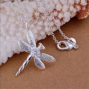 Jewelry - Silver Dragonfly Crystal Pendant Necklace