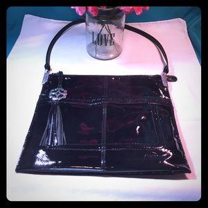 Brighton Rae Black Patent Leather Shoulder Bag!