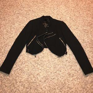 Zara cropped zipper moto jacket