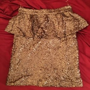 Rose Gold Sequin Peplum Mini Skirt by Mustard Seed