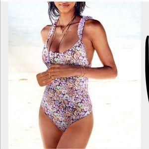 Coral low back one piece swim suit