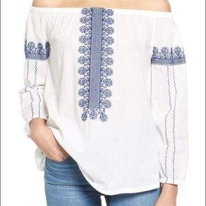 Madewell Off The Shoulder Embroidered Top