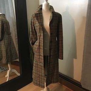 Long tweed trench coat size 4