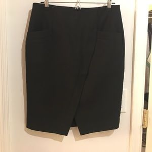 Black pencil skirt with diagonal slit