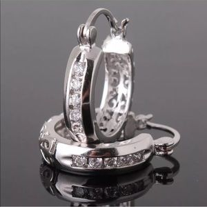 ice Jewelry - Sterling Silver White Topaz Hoop Earrings