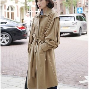 Balloon sleeve loose fit trench coat oversize fit