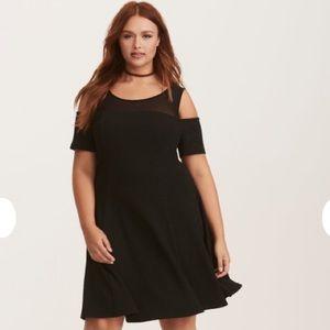 Torrid Black Textured Knit Mesh Inset Skater Dress