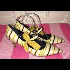 Tory Burch Heels Satin Yellow Striped