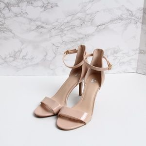 BP Nude Heels with Ankle Strap - Size 7.5