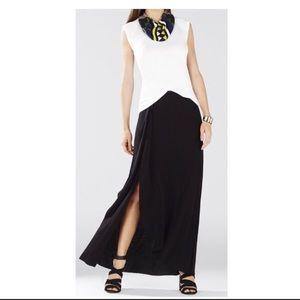 New BCBG Black Ruffle slit maxi skirt XS