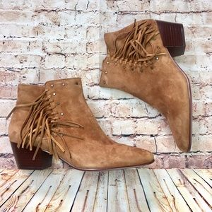 [Sam Edelman] Rudie Cognac Fringe Ankle Boots