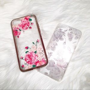 Two Transparent Floral iPhone 7 Cases