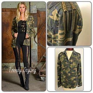 Jackets & Blazers - Edgy Trendy Camo Utility Military Jacket Bling SML