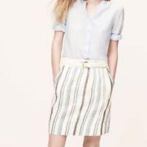 Ann Taylor LOFT Striped Linen Cotton Skirt