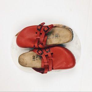 "Red Birkenstock Clogs size 8 || heel to toe: 10.5"""
