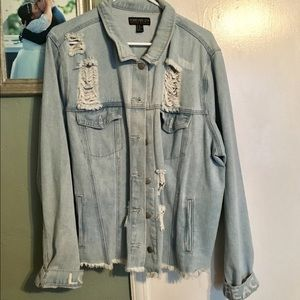 Peace and Love Distressed Denim Jacket