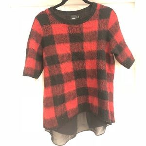 ASOS Black & Red Plaid Sweater Sz 8