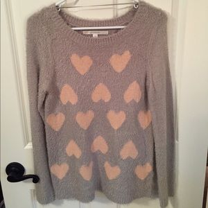 Long sleeve fuzzy knit sweater
