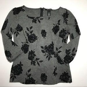 WHBM Ponte knit grey black floral top size 0