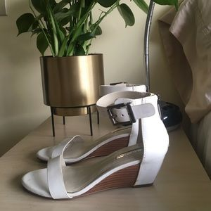 BCBGeneration white patent leather wedge sandals