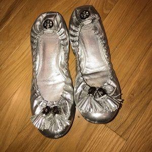 Tory Burch Silver Ballet Flats - Size 8