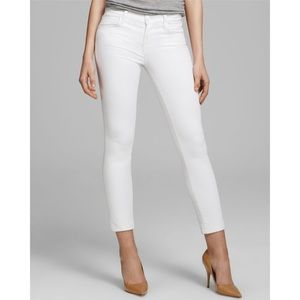 J Brand Mid Rise White Skinny Crop Jeans Size 30