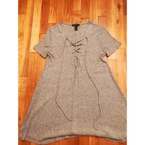 Grey Lace-Up Tunic/Dress