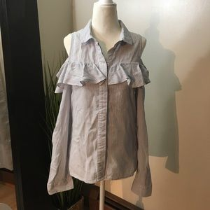Tops - Cold shoulder ruffle button down shirt, size med